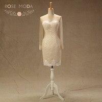 Роза Moda одежда с длинным рукавом Шампанское платье для выпускного вечера с жемчугом по колено Выпускные платья с вырезами сзади пикантные в