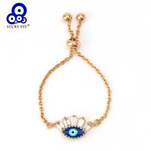 Lucky Eye Blue Zircon Ring Turkish Evil Charm Finger Gold Color Micro Pave for Women Ladies Adjustable EY6374