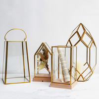 Creative Nordic Home Decoration Gold Glass Greenhouse Vase Lantern Contracted Household Soft Outfit Craft Furnishing Articles