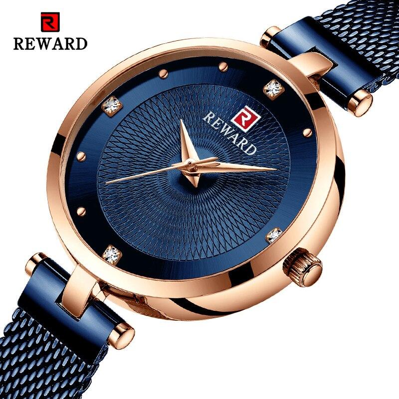 REWARD Luxury Women Watches Fashion Dress Quartz Watch Ladies Stainless Steel Waterproof Wrist Watch Lady Clock Relogio Feminino