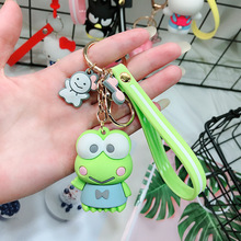 Cute Cartoon Frog Doll Keychain Leather Rope Key Ring Holder Animal Key Chain Keyring Charm Bag Car Pendant Gift недорого