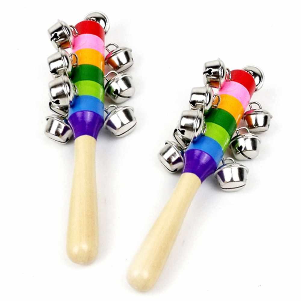 1 pieza bebé sonajero madera Arco Iris Color campana de mano bebé sonajeros Jingle campanas bebé Shaker juguete juguetes educativos DS29