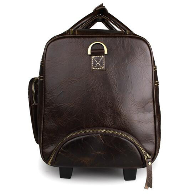 293910459cd ... pretty nice 6e234 b4395 ANAPH Unisex Business Rolling Luggage Real Leather  Suitcases Overnight Weekend Wheeled Duffle