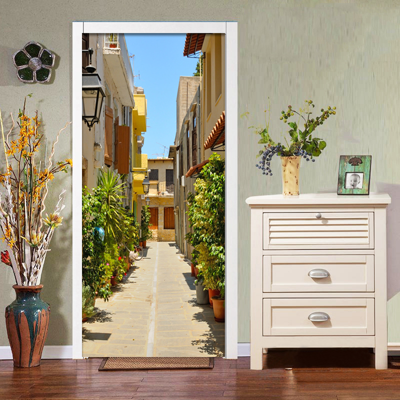 Custom 3D City Town Mural Photo Wallpaper Cafe Dining Room Living Room Door Decor Mural Sticker PVC Eco-Friendly Door Wall Paper custom mural wallpaper creative space forest path 3d wall sticker wallpaper modern living room bedroom door mural pvc home decor