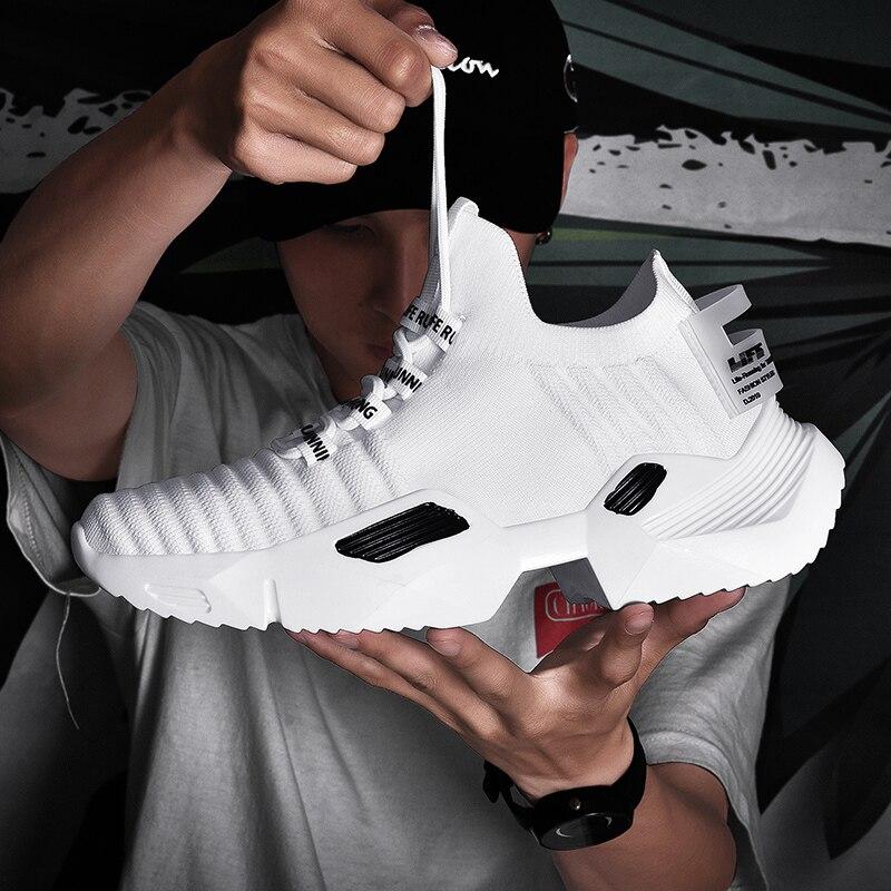 Ins tendencia zapatos de deporte Calcetines Hombre zapatos al aire libre vuelo tejido antideslizante aumentar papá zapatillas de deporte calzado zapatos