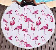 Популярная круглая Пляжная накидка с тропическим фламинго пляжный