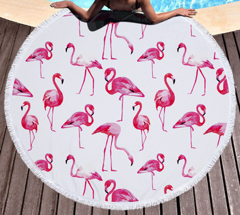 Hot Tropical Flamingo Round Beach Cover Up Beach Mat Towel Shawl Yoga Mat Summer Sarong Cloak Camping Mat round tie dyed tassels sarong beach throw