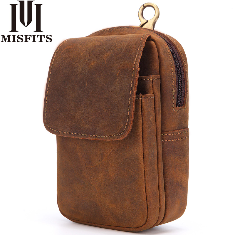 MISFITS Men Waist Bag Crazy Horse Genuine Leather Waist Packs Travel Male Fanny Pack Casual Belt Loops Mobile Phone Pouch Wallet