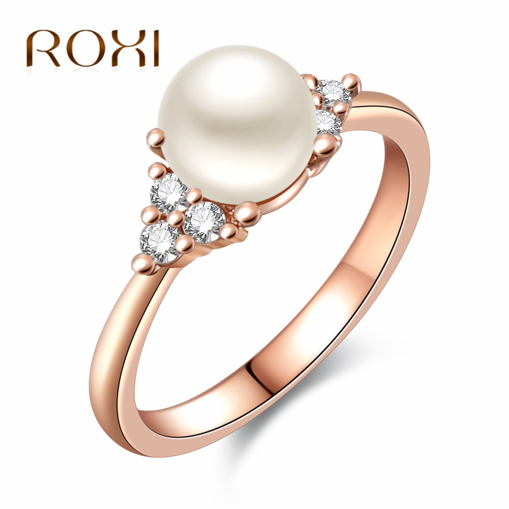 Pearl Wedding Rings: Aliexpress.com : Buy ROXI Fashion Pearl Wedding Rings For
