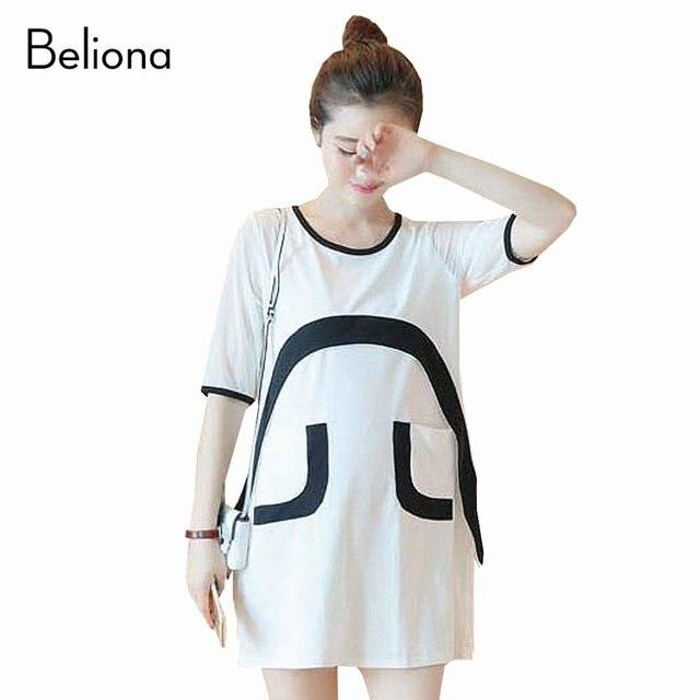 Белый черный с коротким рукавом лоскутная беременность возглавляет лето свободный беременным майка платья для беременных одежда для беременных