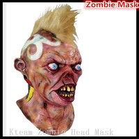 Top Quality Halloween Party Cosplay Adults' BRAND NEW Punk Mohawk Devil Monster Deluxe Adult Latex MOHICAN NEMANAU MASK