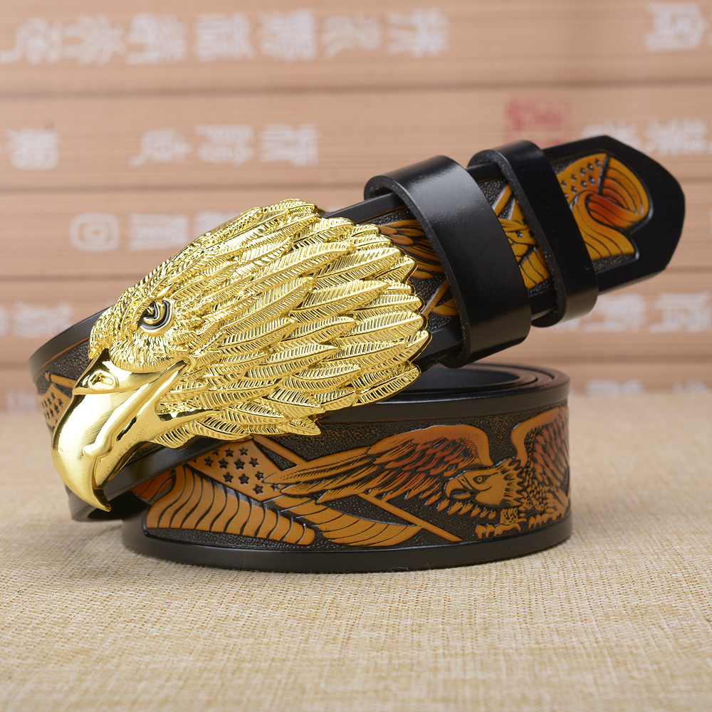 Gold Eagle Head Buckle Belt For Men Genuine Leather Man Belts Brand Cowskin Fashion Vintage Male Strap High-grade Gift Luxury