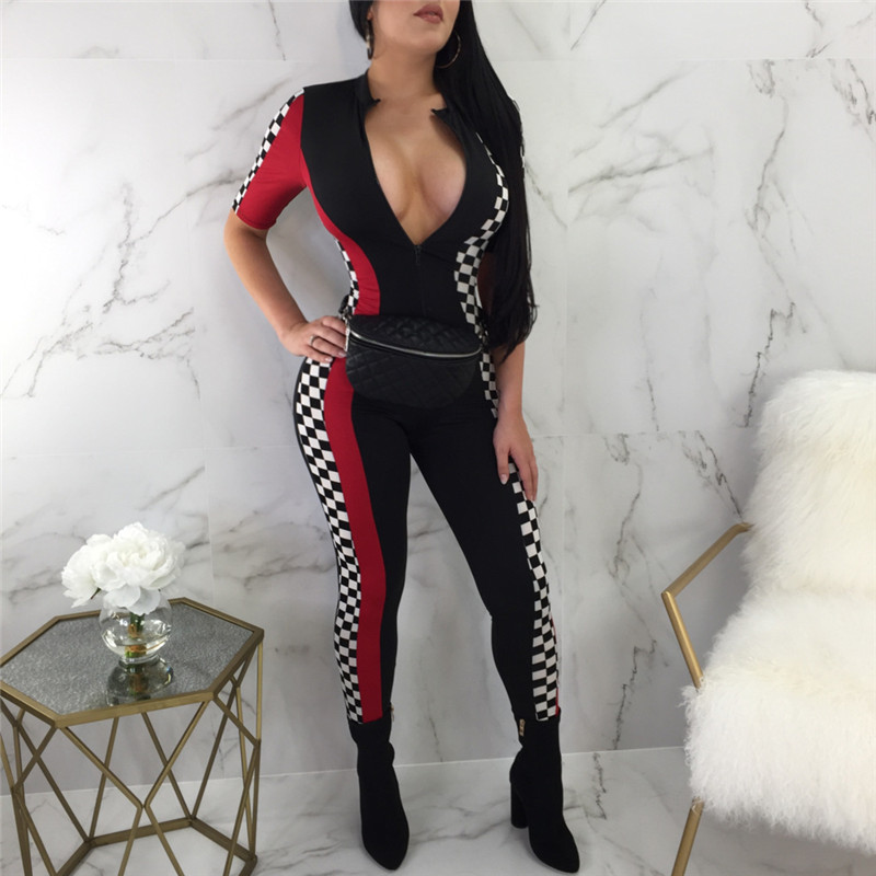 VAZN 2018 New Casual Style Brand Women Jumpsuits 3 Color Ahead Zip Tachibana Short Sleeve Compression Plus Size Romper SMR8959