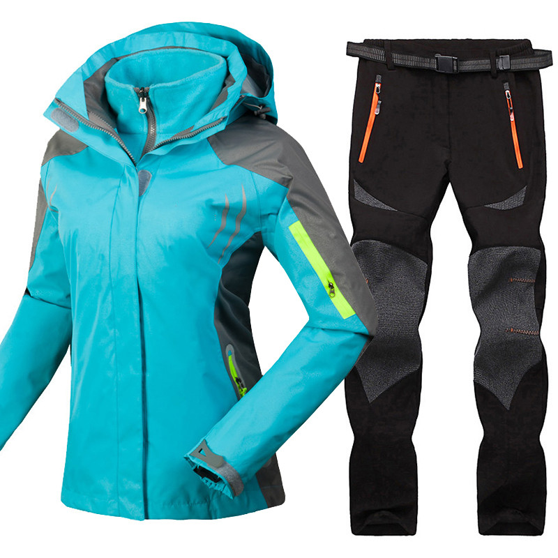 Mountain Skiing Suit for Women Winter Waterproof Windroof Breathable Ski Jackets + Pants Outdoor Snowboard Clothing Set Big Size camouflage soft shell woman winter ski jackets outdoor waterproof skiing and skateboard clothing for women 2017 new hot sale