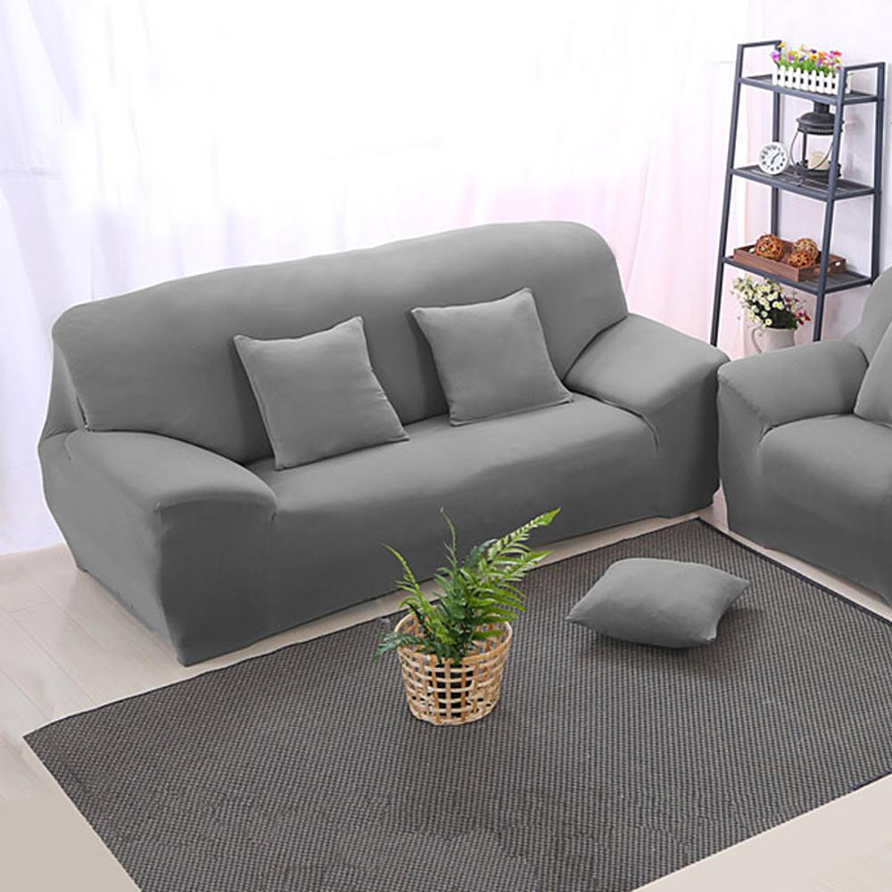 Arm Chair Three Seater Sofa Cover Slipcover Stretch Lounge Couch Protector Slip Solid Color Grey Home Textile Decoration In From