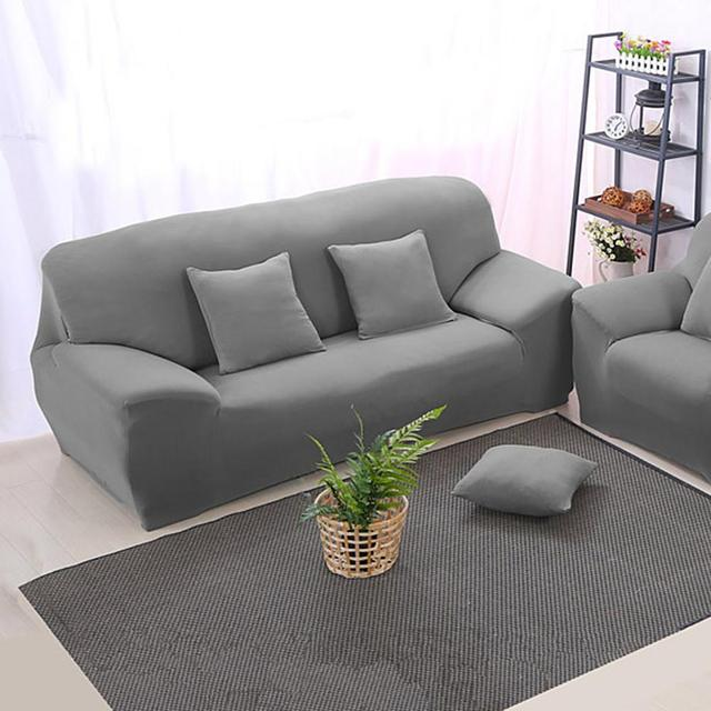 Arm Chair Three Seater Sofa Cover Slipcover Stretch Lounge Couch Protector  Slip Cover Solid Color Grey