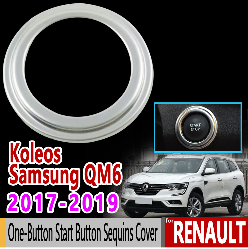 for Renault Koleos Renault Samsung QM6 Stainless Steel One-Button Start Button Sequins Cover 2017 2018 2019 Car Styling Styling