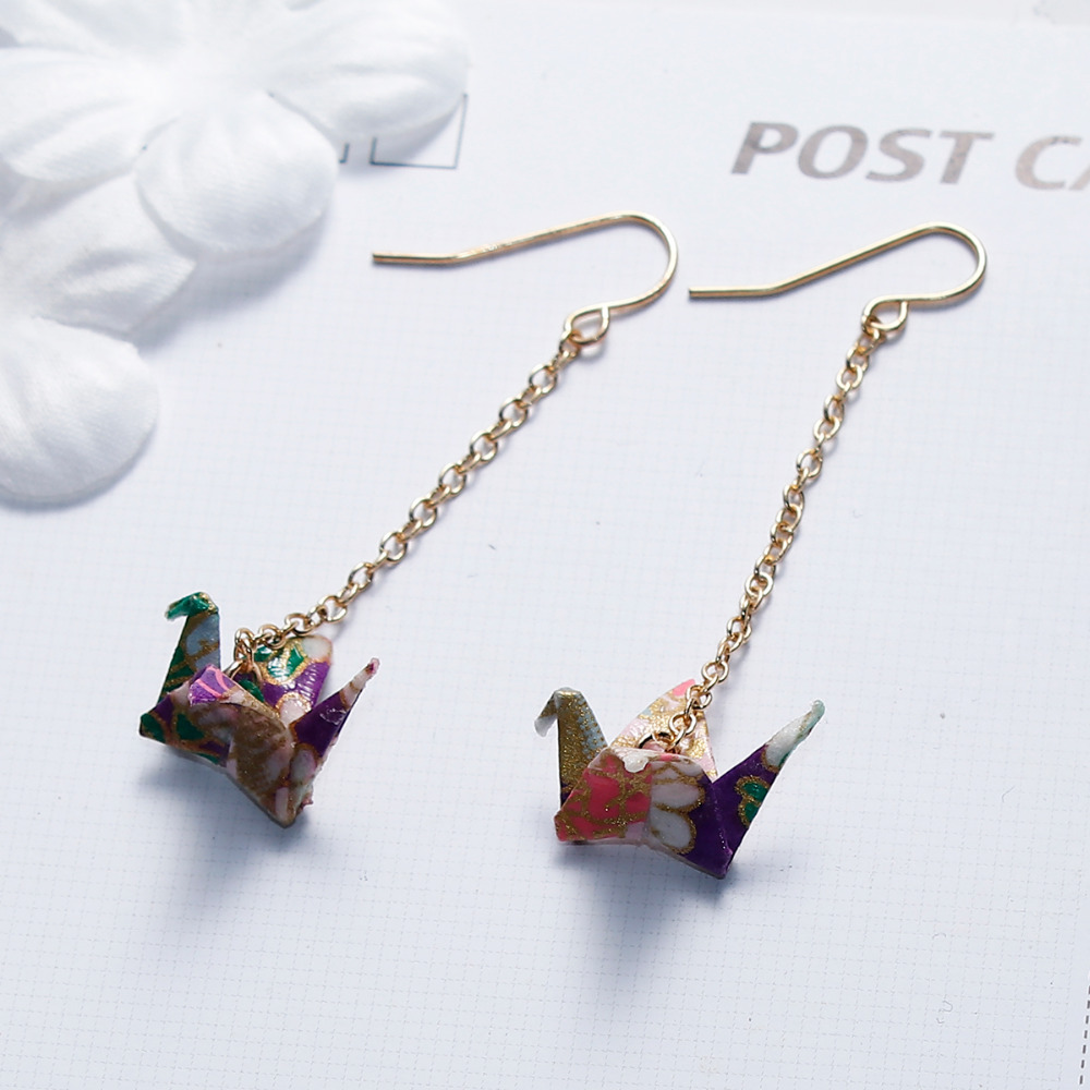 8SEASONS Drop-Earrings Paper-Crane Origami Washi Japanese Women 1piece 61mm 2-3/8-Post/Wire
