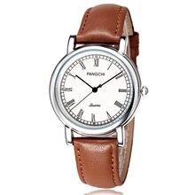 Caballero de marca PANGCHI de Alta Calidad Roma Vintage Casuales Para Hombre Vestido de Reloj de Cuero Marrón Genuino Cara Blanca Reloj Hombre