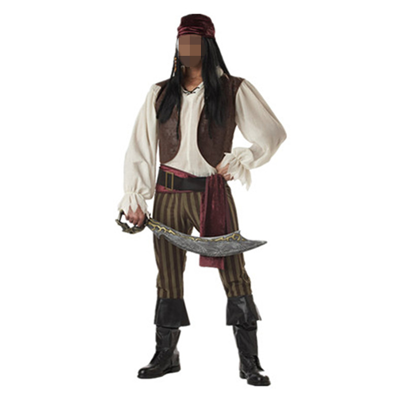 Exports Uniform Man Pirate Jack Cosplay Costumes Pirates of the Caribbean Halloween Disfraces Game Male Clothing