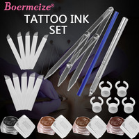 Permanent Makeup Kit Eyebrow Microblading Needles Tattoo Pigment Manual Pen Eyebrow Ruler Pencil Ring Cups Tattoo for Beginners