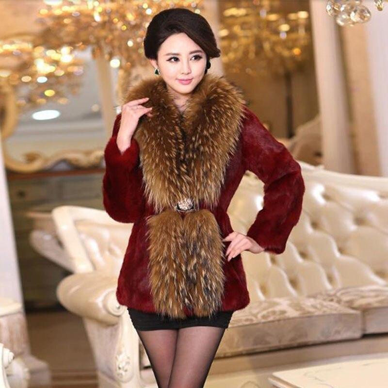 Ny Vinter Lång Sektion Med Fox Fur Collar Coat 100% Rex Real Kanin - Damkläder