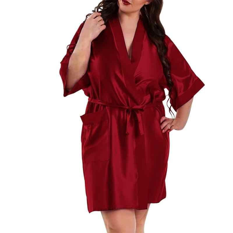 ca572b5c63a3 Women Pajamas Navy Blue Sleepwear Solid Female Wine Red Robe Plus Size  Black Robes Cardigan Satin