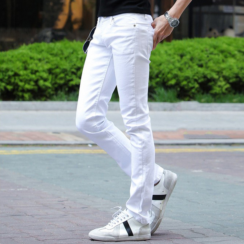 ФОТО Jeans Men 2016 men's large size men's white jeans Korean fashion casual men stretch skinny jeans 27-36 skinny denim pants