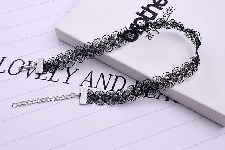 Новый дешевый черный белый кружевной Бархатный чокер-ожерелье в стиле панк ретро готический эластичный чокер ожерелье s для женщин подарок бесплатная доставка