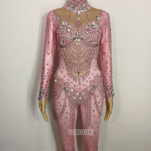 Pink Pearl Crystals Jumpsuit Bling Glass Diamond Skinny Elastic Bodysuit Bar Female Singer Stage Costume Birthday Party costumes 1