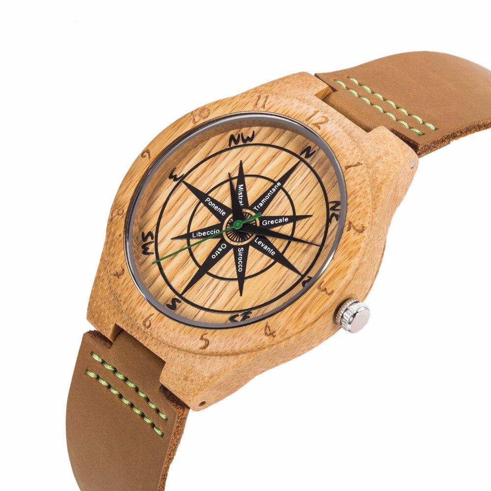 23dc1b2a7731 Mens uwood reloj de cuarzo de lujo reloj de madera de bambú mundo Mapas  Brújulas moda casual reloj de bambú de madera
