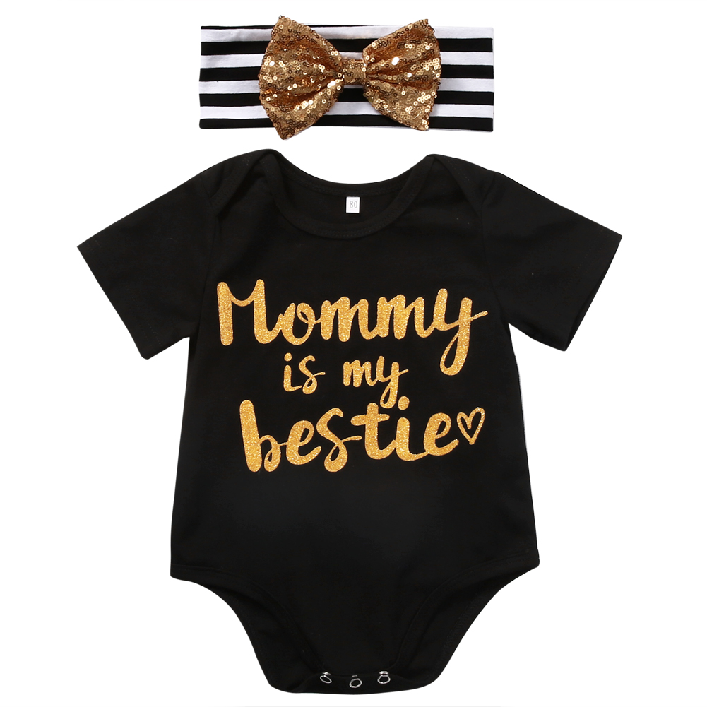 2PCS Set Newborn Baby Girls Clothes 2017 Summer Short Sleeve Baby Romper +Bow Headband Outfit Mommy is the Bestie Bebek Giyim pink newborn infant baby girls clothes short sleeve bodysuit striped leg warmers headband 3pcs outfit bebek clothing set 0 18m