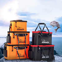 Folding Thicken Wear-resistant EVA Fishing Bucket Live Fish Bag Oxygen Pump Outdoor Sports Fishing Tackle Boxes pesca Equipment