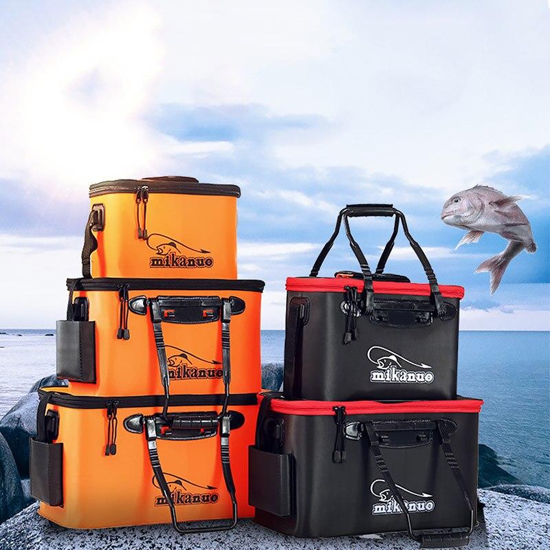 Folding Verdicken Tragen-beständig EVA Angeln Eimer Live Fisch Tasche Sauerstoff Pumpe Outdoor Sport Fishing Tackle Boxen pesca Ausrüstung