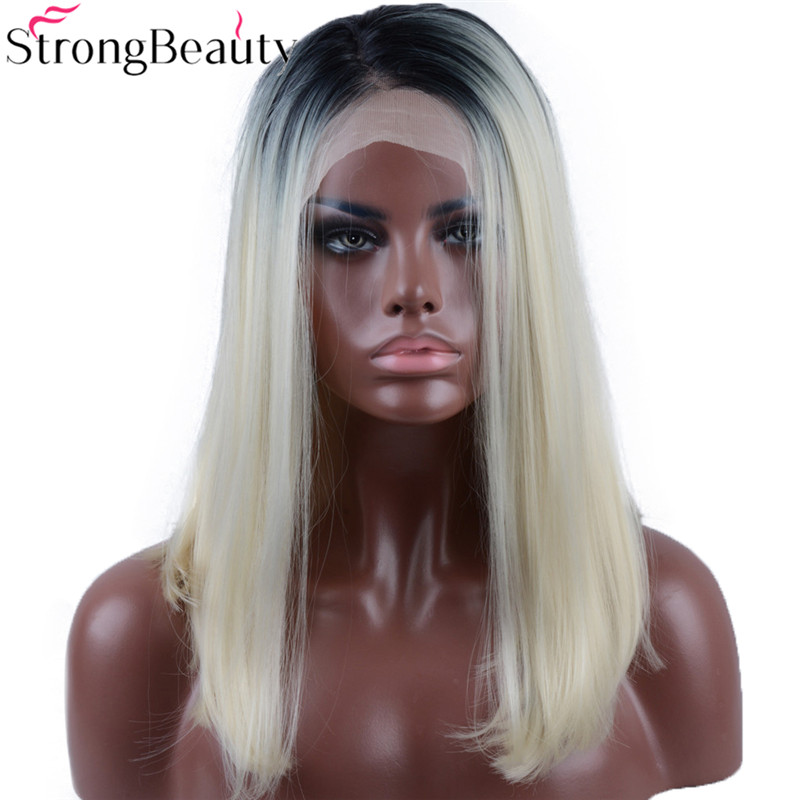 Strongbeauty Short Bob Wig Blonde Synthetic Lace Front Ombre Blonde Heat Resistant Glueless Straight Wigs