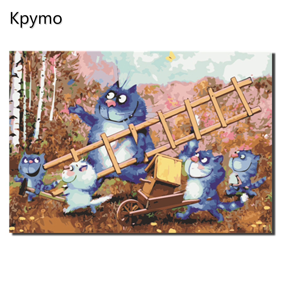 Picture Modern Framed Pictures Painting By Numbers DIY Oil Painting On Canvas Home Decor Of Blue Cat Color Numbers Gift VA-0086