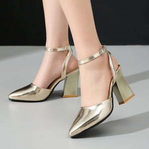Image 2 - 2020 new Women Pumps Thick Heels Ladies Party Wedding shoes Gold silver Shoes Summer Buckle Ankle StrapFootwear Size 34 43 f532