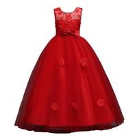 Larga Niñas desfile niños prom puffy tulle 3D flor princesa adolescente noche formal vestido de bola para Niñas rojo azul rosa Borgoña