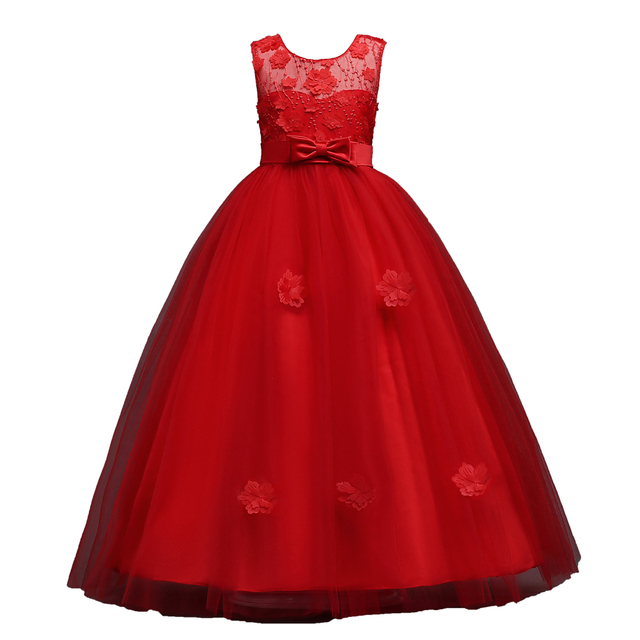 Long Girls Pageant Kids Prom Puffy Tulle 3d Flower Princess Teen Formal  Evening Ball Gown Dress for Girls Red Blue Pink Burgundy 3c3241f14639