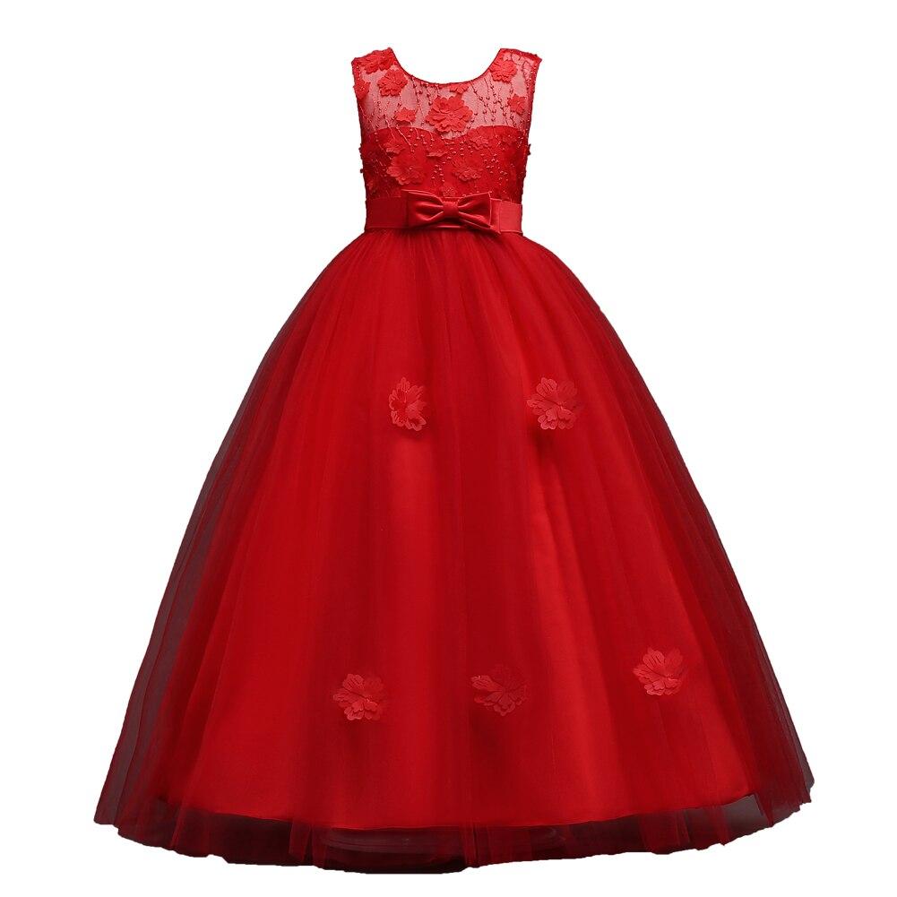 Longo Meninas Pageant Puffy Tule vestido de Baile Crianças 3d Flor Princesa Adolescente de Noite Formal vestido Vestido de Baile para Meninas Rosa Azul Vermelho Borgonha
