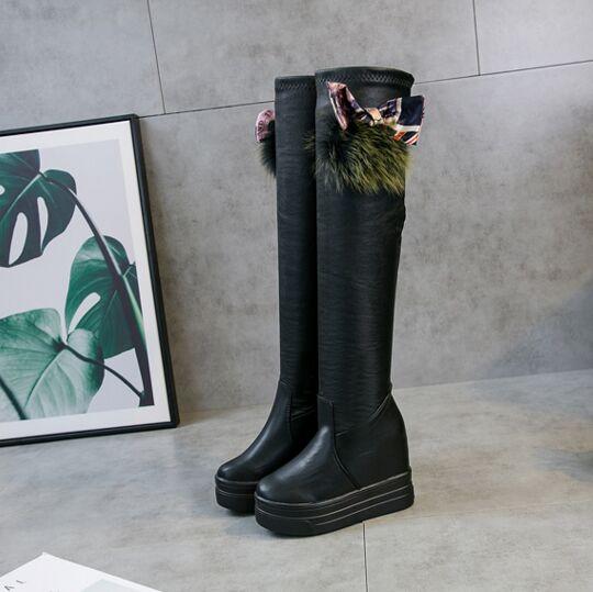 ginocchio il ginocchio il pelle Scarpe nero sopra 2018 sexy invernale il donna scamosciata Stivali sopra in caldo per tempo nera WtfwfqY0