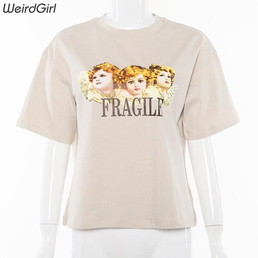 Weirdgirl Women Baby Angel Printing Casual Fashion T-shirts letter Short Sleeve O-Neck Khaki Loose Female Tees Summer New 19 3