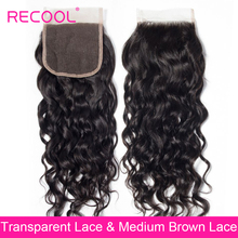 Transparent Lace Closure Human-Hair Water-Wave Recool Free/Middle-Part Brazilian Remy