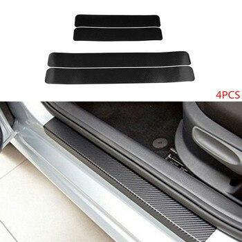 Pegatinas universales de fibra de carbono antiarañazos para puerta, pegatinas accesorios para coche, 60x6,7 cm, 4 Uds.