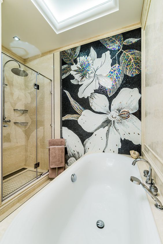 Mosaic for Bathroom,Artist mosaic mural,flower mosaic