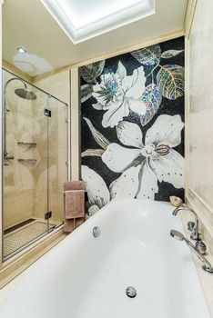 Mosaico per il Bagno, Artista mosaico murale, fiore mosaico