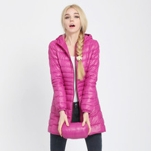 Ukraine New Sale Zipper 90% 2017 Euro-stars Thin Style Winter Coat Women Slim Hooded Down Parka Long Jacket Outerwear Elegant