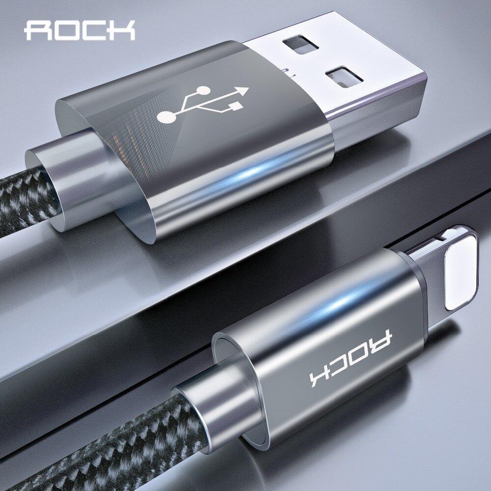 ROCK 1 m USB date de Câble pour iphone 8 7 6 6 s plus 5 se Nylon Tresse Rapide De Charge câble d'éclairage pour iPad iphone cordon de chargeur fil