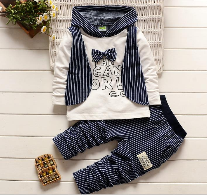 Infant Hooded Suits Long Sleeve Vest Shirt + Cotton Striped Pants Kids Clothing Set Baby Boy Hoodie Clothes Outfits Baby Boy Set