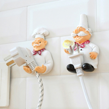 Creative Lovely Cartoon Chef Starkt Storage Rack Hook Wall Decor Plug Holder